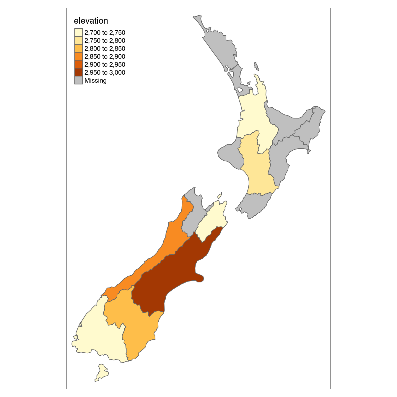 Average height of the top 101 high points across the regions of New Zealand.