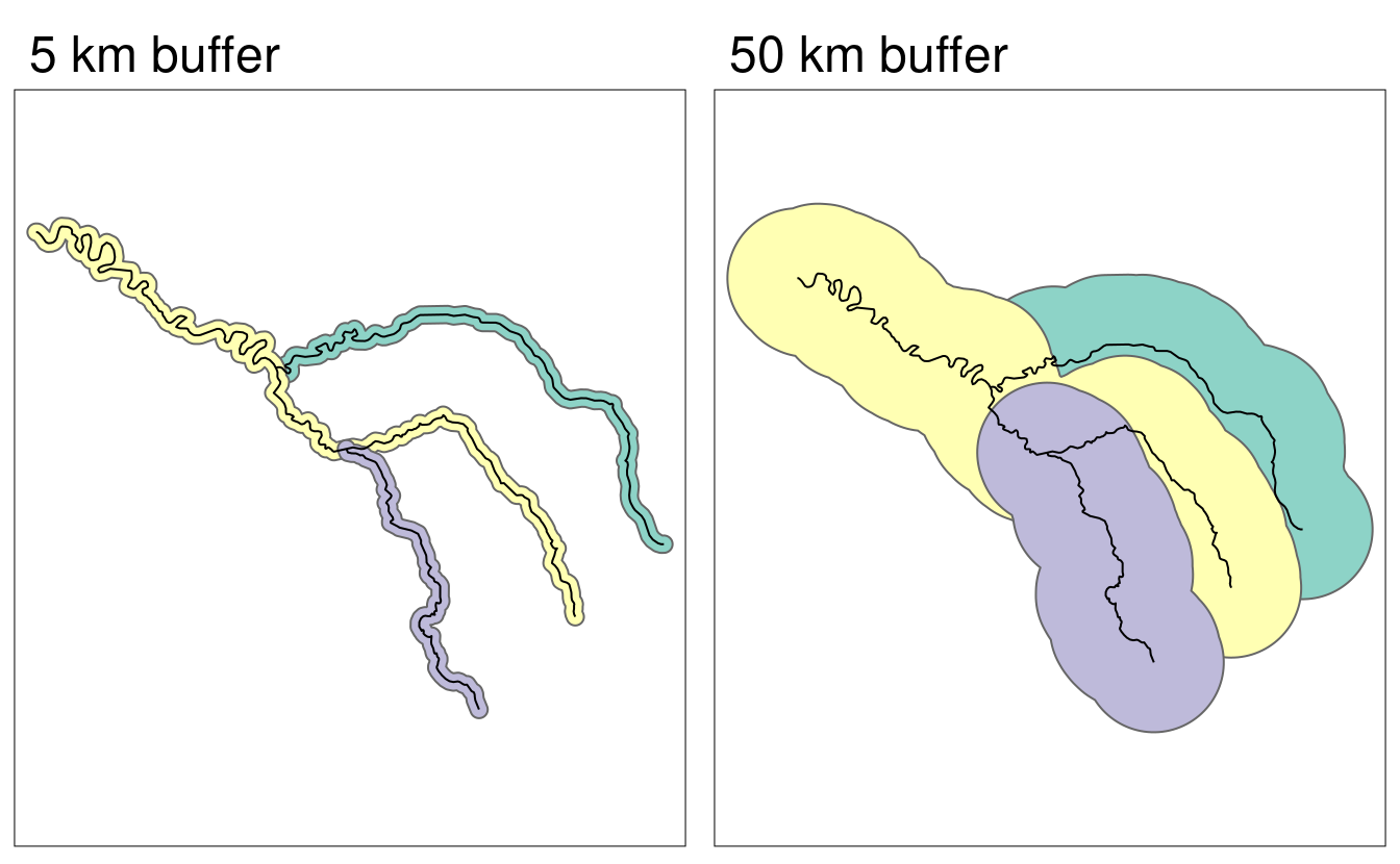 Buffers around the Seine dataset of 5 km (left) and 50 km (right). Note the colors, which reflect the fact that one buffer is created per geometry feature.