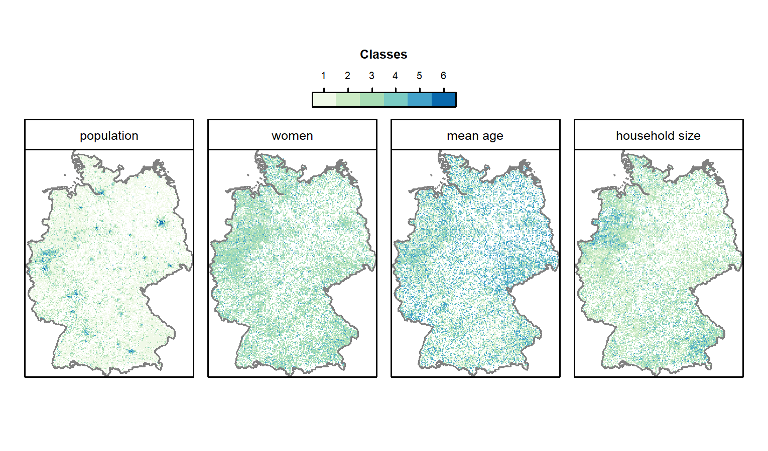 Gridded German census data of 2011. See Table 13.1 for a description of the classes.
