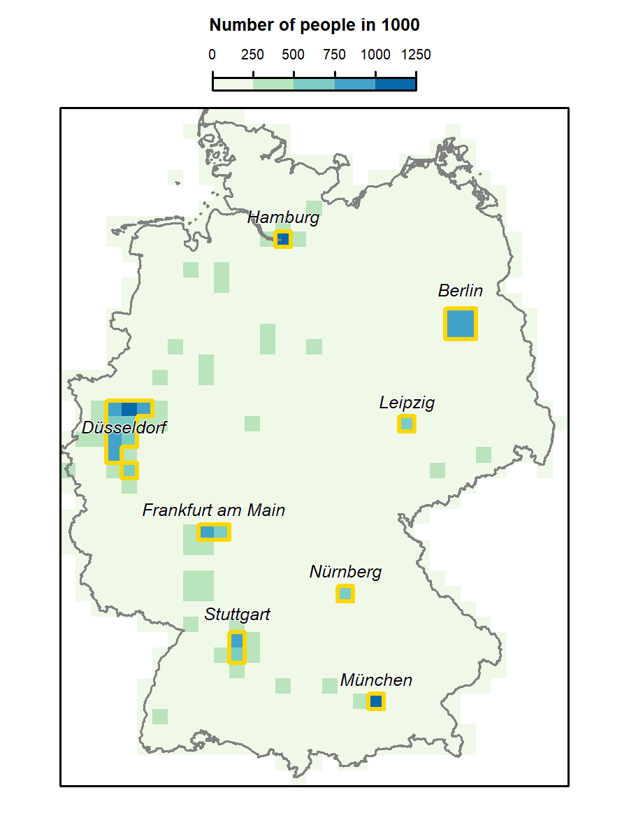 The aggregated population raster (resolution: 20 km) with the identified metropolitan areas (golden polygons) and the corresponding names.
